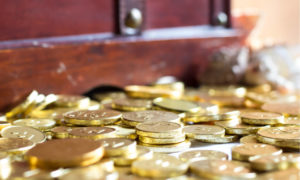 gold coins in a treasure chest